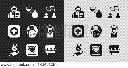 Set Police Officer, Ball On Chain, Speech Bubble Chat, Coins Hand - Minimal Wage, Shield, Censored S