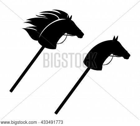 Hobby Horse With Bridle And Flying Mane - Traditional Toy Made Of Stallion Head And Stick Black And