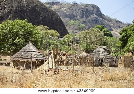 remote village in mountainous region of south sudan