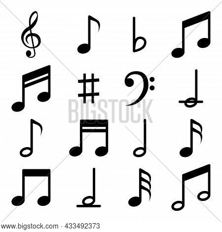 Music Notes Icon Set. Music Notes Symbol. Music Notes, Song, Melody Or Tune Flat Vector Icon For Mus