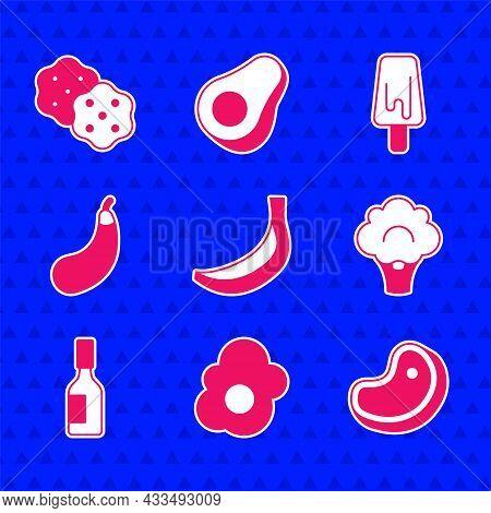 Set Banana, Scrambled Egg, Steak Meat, Broccoli, Tabasco Sauce, Eggplant, Ice Cream And Cracker Bisc