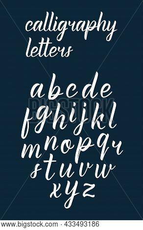 White Modern Handdrawn Latin Calligraphy Brush Script Of Lowercase Letters. Calligraphic Alphabet. V