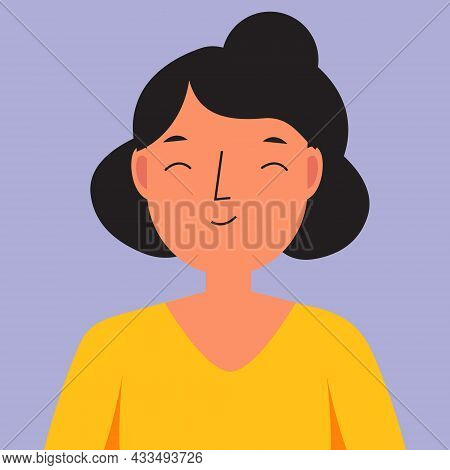 Smiling Woman. Happy Female With Pleased Face. Satisfied Human Face. Vector Illustration For People