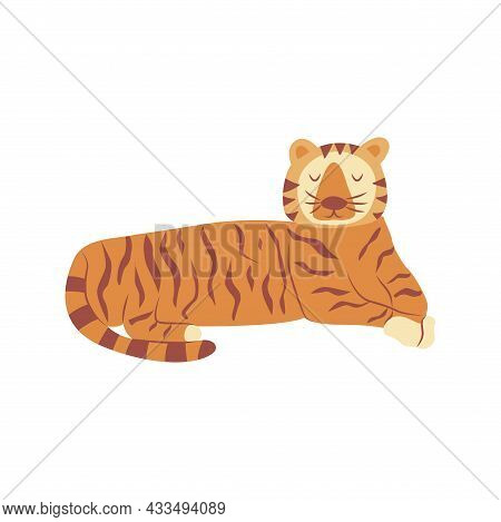 Tiger Is Lying. Noble Wild Striped Feline, Fast And Agile Animal. Colorful Vector Isolated Illustrat