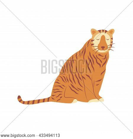 Tiger Is Sitting. Noble Wild Striped Feline, Fast And Agile Animal. Colorful Vector Isolated Illustr