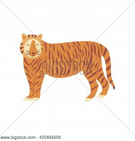 Tiger Is Standing. Noble Wild Striped Feline, Fast And Agile Animal. Colorful Vector Isolated Illust