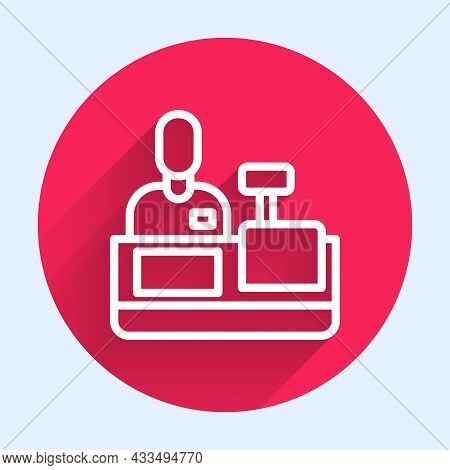 White Line Cashier At Cash Register Supermarket Icon Isolated With Long Shadow. Shop Assistant, Cash