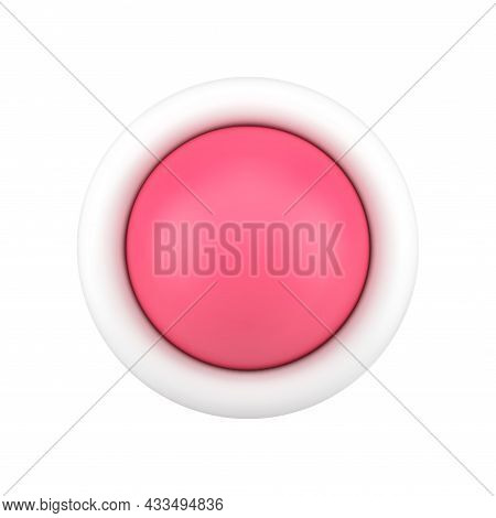 Red Button 3d Icon. Glossy Round Switch For Settings