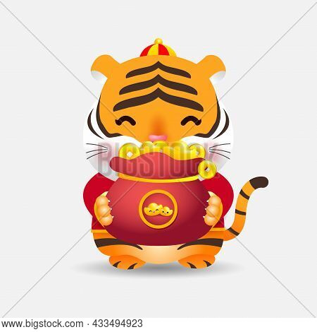 2022 Chinese New Year, Little Tiger Holding Bag Of Gold,  Year Of The Tiger Zodiac Of Animal Lucks C