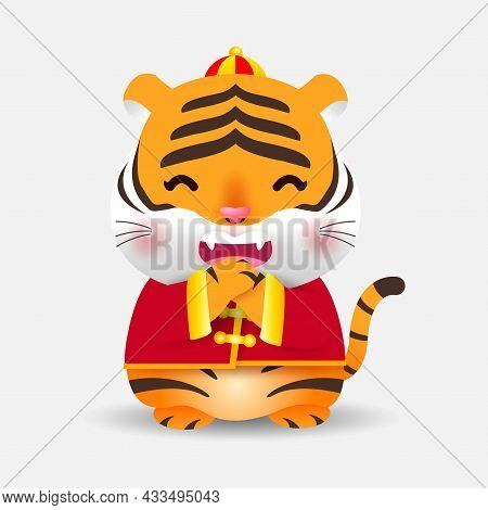 Cute Little Tiger Greeting And Happy Chinese New Year 2022 Year Of The Tiger Zodiac, Gong Xi Fa Cai