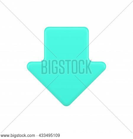 Turquoise Down Arrow 3d Icon. Downward Movement Symbol