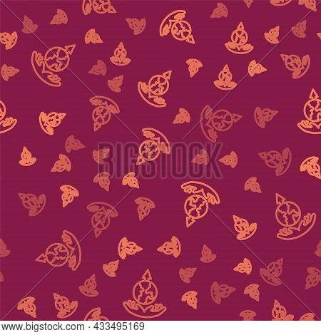 Brown Line World Expansion Icon Isolated Seamless Pattern On Red Background. Vector
