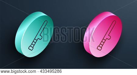 Isometric Line Police Rubber Baton Icon Isolated On Black Background. Rubber Truncheon. Police Bat.