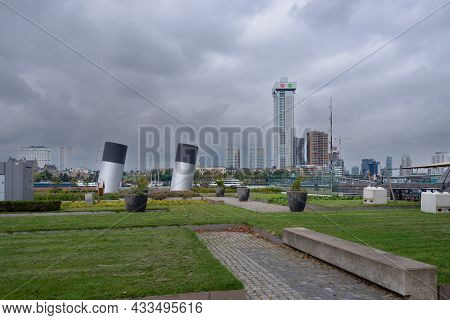 15 September 2021, Rotterdam . South Holland, Netherlands View On The Rottrerdam Central Area