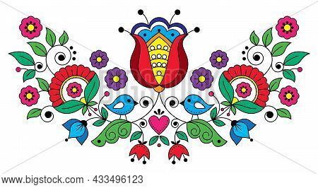 Scandianvian Traditional Folk Art Vector Design With Flowers, Leaves, Heart And Birds, Floral Orname