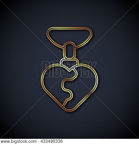 Gold Line Necklace With Heart Shaped Pendant Icon Isolated On Black Background. Jewellery Decoration