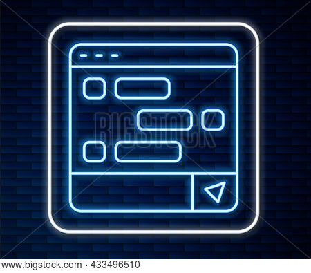 Glowing Neon Line New Chat Messages Notification On Laptop Icon Isolated On Brick Wall Background. S