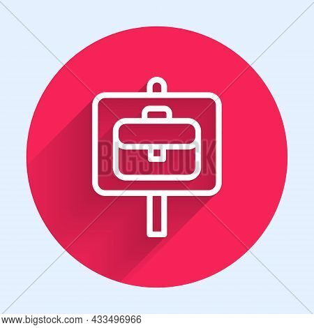 White Line Magnifying Glass With Briefcase Icon Isolated With Long Shadow Background. Job Hunting. W