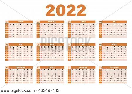 Calendar Template For 2022 In A Minimal Table And Yellow Color. The Week Starts On Sunday. Sunday Is