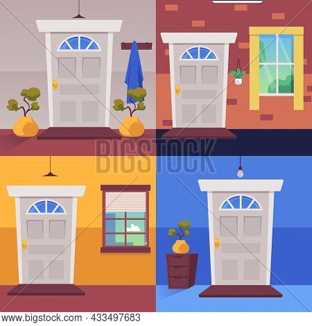 Set Of Cozy Hallway Interiors In Flat Vector Illustration, Home Exit With Closed Door.