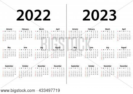 Calendar For 2022-2023-vector Illustration. The Week Starts On Sunday. Sunday Is Highlighted In Red.