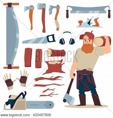 Set Of Lumberjack Tools With Woodcutter, Flat Vector Illustration Isolated.