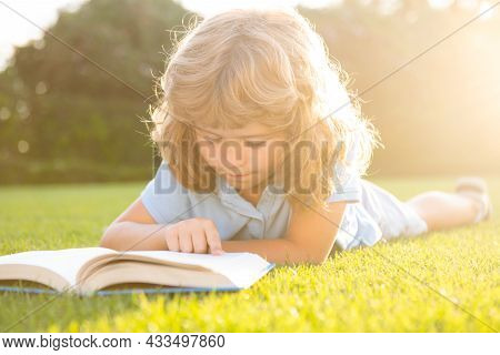 Cute Boy Reading A Book Laying On Grass. Child Reading A Book In The Summer Park.