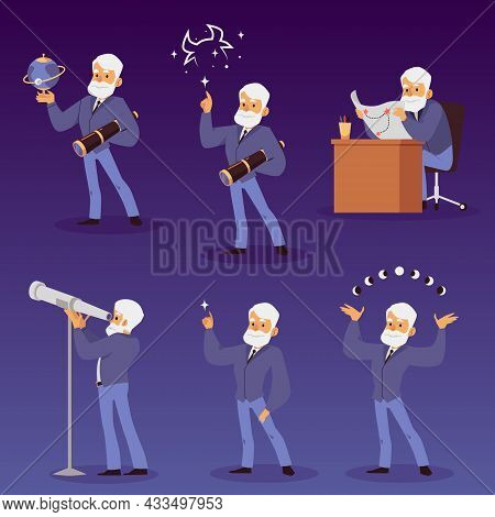 Astronomer Or Star Observatory Scientist Set, Flat Vector Illustration Isolated.