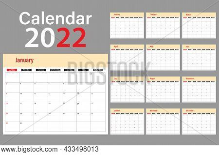 Calendar For The Week 2022 Beginning Of Sunday Is A Corporate Design Planner Template. Sunday Is Hig