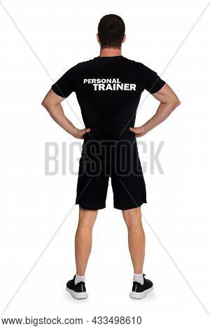 Personal Trainer On White Background, Back View. Gym Instructor