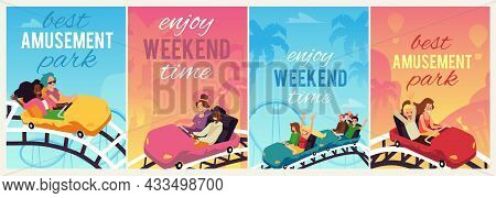 Banners Or Social Media Posters For Amusement Park, Flat Vector Illustration.