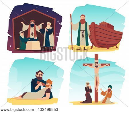 Bible Christian Narratives Set , Flat Vector Illustration Isolated On White.