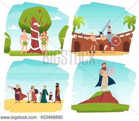 Bible Old Testament Stories Set Flat Vector Illustration Isolated On White.