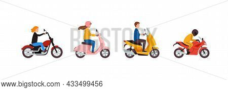 Young People Motorcyclists Riding On Various Models Motorbikes.