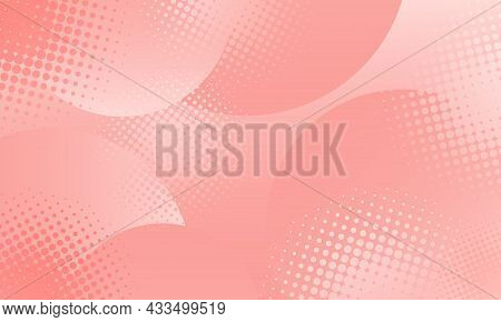 Abstract Background In Comic Style Halftone Dots. Pink To White Gradient. Vector Illustration