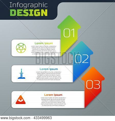Set Pentagram In A Circle, Sword The Stone And Masons. Business Infographic Template. Vector
