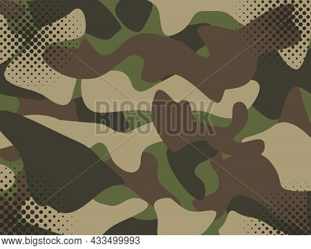 Camouflage Military Background With Halftone Spots. Memorial Day Concept With Place For Text. Vector