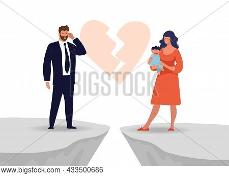 Divorce In A Family With Children, Broken Relations Between A Man And A Woman, Concept Illustration