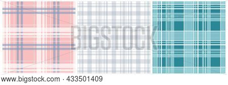 Set Of Vector Seamless Textile Patterns - Delicate Striped Design. Colorful Fabric Backgrounds. Geom