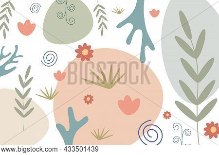 Vector Colorful Floral Background - Hand Drawn Delicate Design. Painting Pattern. Abstract Trendy Pr
