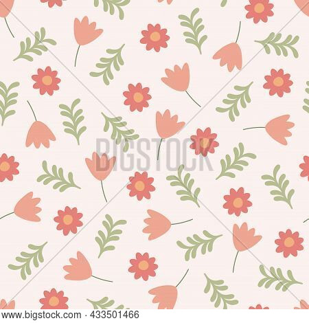 Colorful Seamless Floral Pattern - Hand Drawn Trendy Design. Delicate Vintage Background. Vector Ill