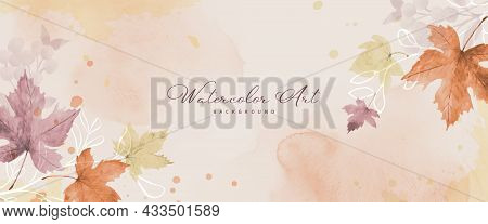 Abstract Art Autumn Background With Watercolor Maple Leaves. Watercolor Hand-painted Natural Art Per