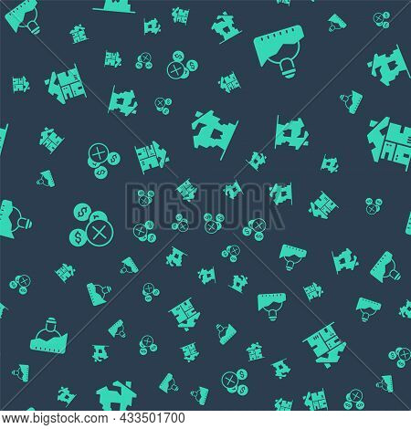 Set Ruined House, Growth Of Homeless, No Money And Homeless Cardboard On Seamless Pattern. Vector