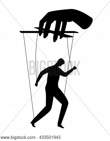 Businessman Puppet. Human Puppets Control, Puppeteer Hands Man Marionette Silhouette Vector Illustra