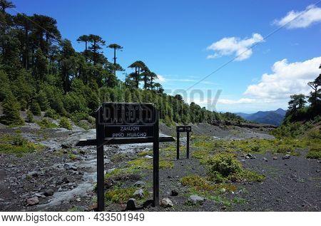 Villarrica national park, Pucon, Chile - December 15, 2018: Zanjon Pino Huacho sign board - black ash, old lava ravine on mountainside of Villarrica volcano along Villarrica Traverse hiking trail