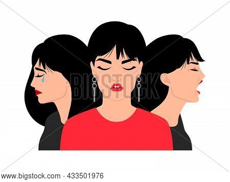 Sad Woman Faces. Cry Worried Stressed Brunette Women Portraits, Suffering Young Girl Face With Close