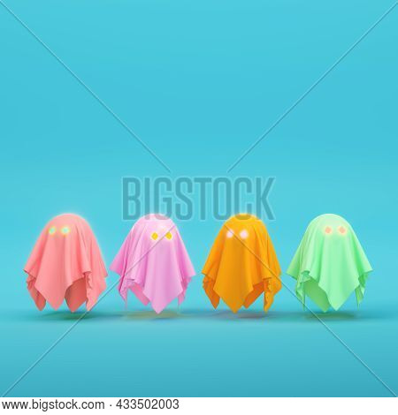 Colorful Four Cute Ghost Characters On Bright Blue Background In Pastel Colors. Minimalism Concept.