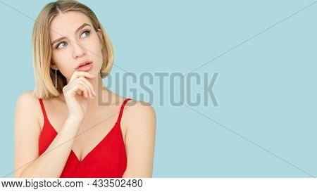 Puzzled Woman. Ambivalence Decision. Make Choice. Advertising Background. Thoughtful Lady Hand On Ch