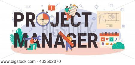 Project Manager Typographic Header. Successful Business Project Planning