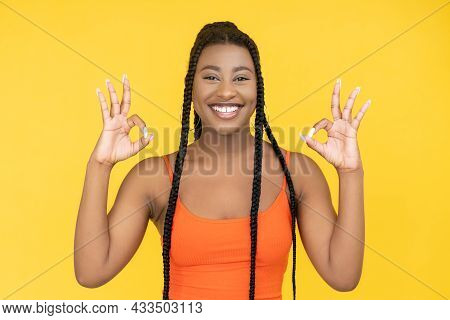 Ok Sign. Approval Gesture. Positive Recommend. Joyful Smiling African Woman Showing Okay Agreement H